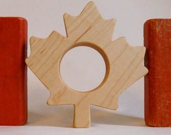 Wood Toy -  Canadian Maple Leaf Teether - organic, safe and natural for baby