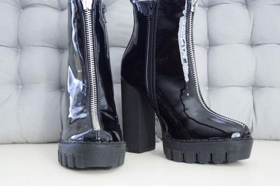 Black rits vinyl enkellaarzen hoge hak, start en landingsbaan laarzen, platform enkellaars, 3 uk, 36 eu, goth, alternatief, clubwear, nieuwe,
