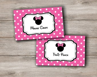 Pink Minnie Mouse Food Tent Cards Labels Party Instant Download Edit Now