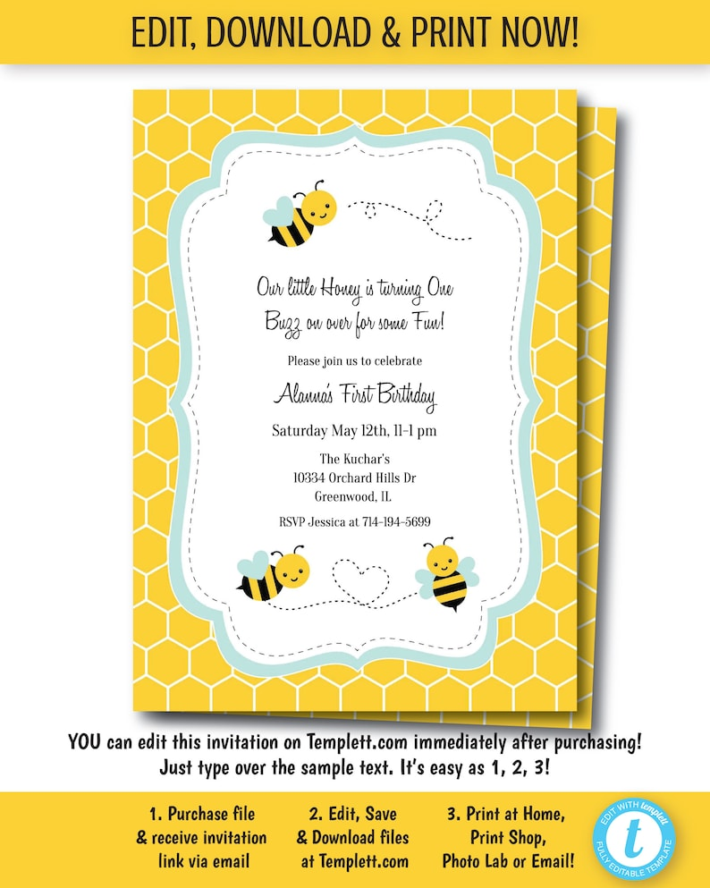 Bumble Bee Birthday Invitation Invite Party Edit Now Templett