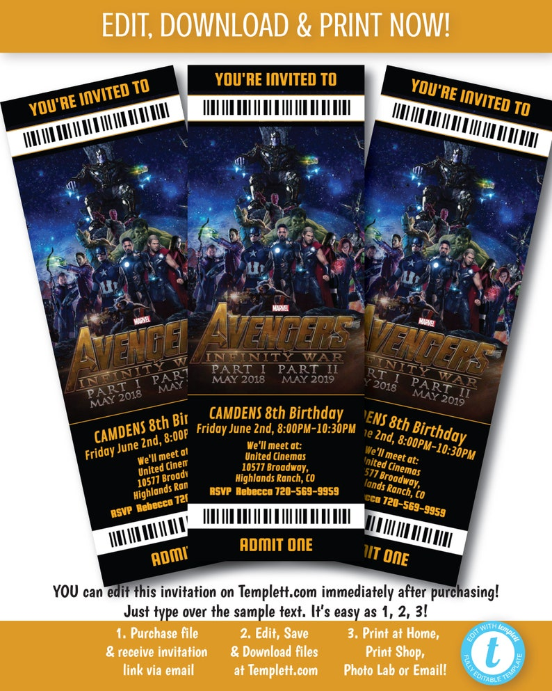Avengers Infinity War Movie Ticket Invite, Printable Avengers Movie  Invitation, Infinity Wars Movie Ticket Invite, Edit Now on Templett