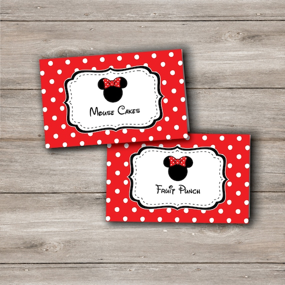 Minnie Mouse Food Tent Cards Labels