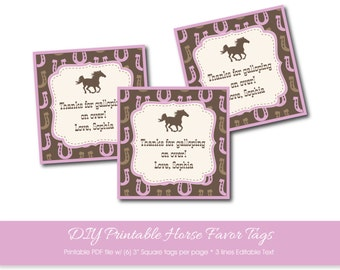 Horse Party Favor Tags with Editable Text, Horse Changeable Text Tags, Custom Horse Party Tag, Personalized Horse Party, Printable PDF