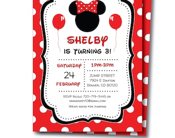 Minnie Mouse Invitation, Minnie Mouse Birthday Invitation, Minnie Shower Invitation, Minnie Party, Templett, Instant Download, Edit Now