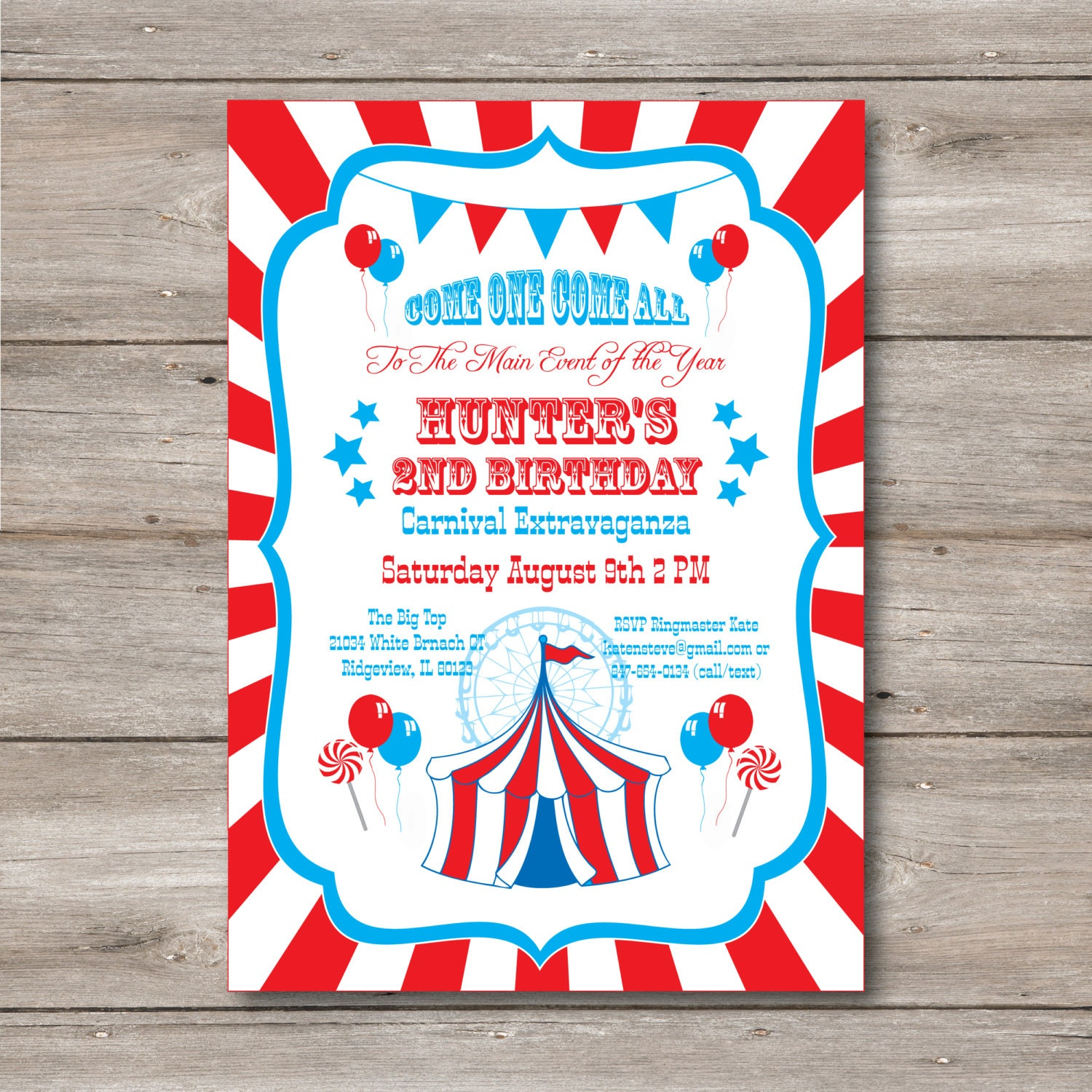 carnival invitation with editable text carnival party