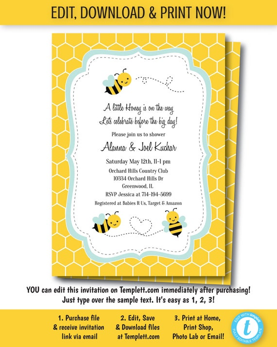 Lil Bumble Bee Happy as can Bee Printable Baby Shower Invitation Editable PDF