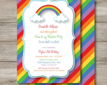 Rainbow Invitation with Changeable Text, Editable Rainbow Birthday Invitation, Rainbow Digital Editable invitation, Rainbow Invitation PDF