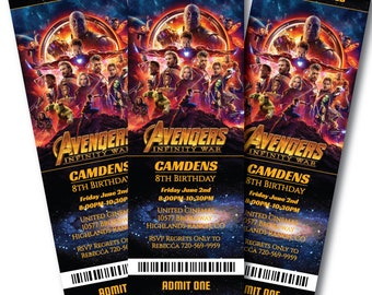 Avengers Invitation Edit Now, Avengers Infinty Wars Movie Invitation, Avengers Birthday Movie Ticket invitation, Instant with Templett