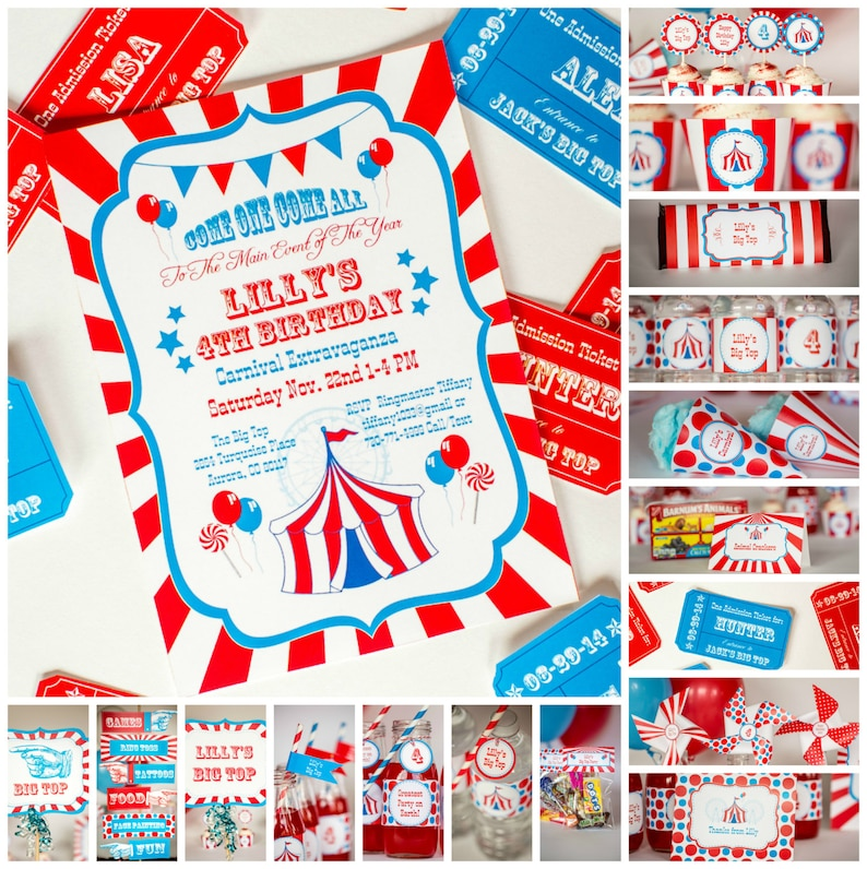 Carnival Party Kit With Invitation Personalized