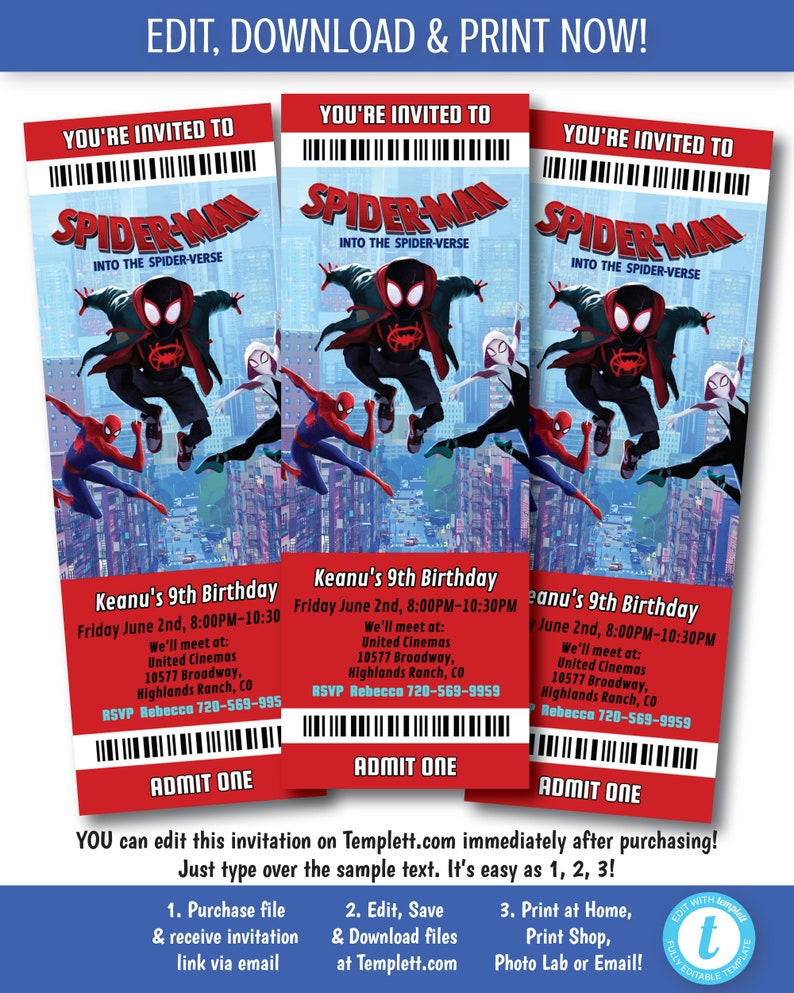 photograph regarding Printable Movie Ticket Invitations referred to as Spider Person Video clip Invitation, Printable Spiderman Online video Ticket Invitation, Spider Gentleman Into The Spider Verse Invitation, Edit Currently upon Templett