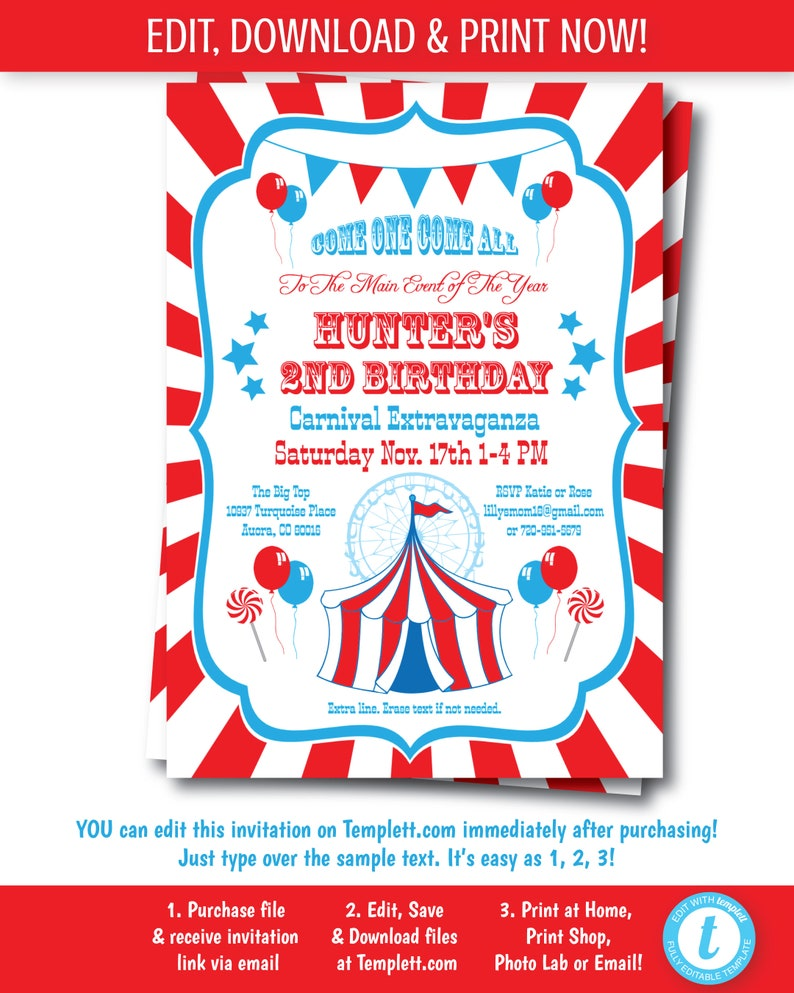 graphic about Printable Carnival Birthday Invitations titled Carnival Invitation, Printable Carnival Bash, Circus Invitation, Electronic Carnival Bash, Carnival Concept Invitation, Edit At this time, Templett,