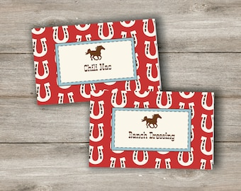 Horse Food Tent Cards with Changeable Text, Printable Horse Party Food Cards, Food Tent Cards, Horse Birthday Food Labels, Horse Party Label