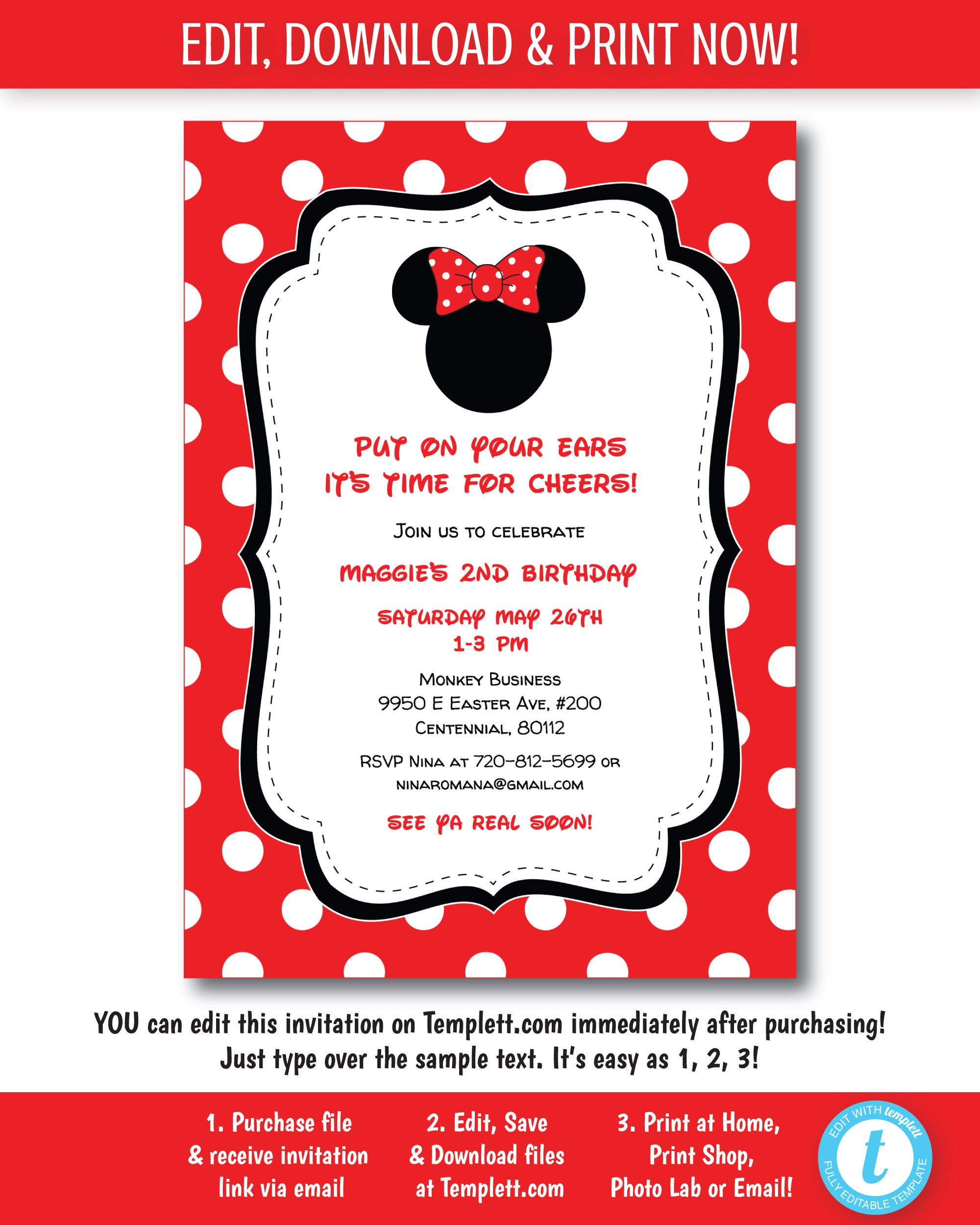 Minnie Mouse Invitation Minnie Mouse Birthday Invitation | Etsy