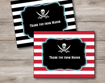 Pirate Thank You Cards with Editable Text, Printable Pirate Party Notecards, DIY Pirate Note Cards Editable, Printable Kids Pirate Thanks