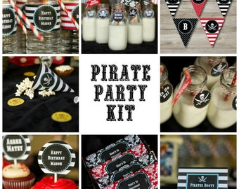 Pirate Party Kit with Invitation, Printable Pirate Birthday Party Set, Kids Pirate Party Printables, Pirate Party, Instant Download