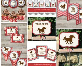 Horse Party Kit with Editable Text, Printable Horse Party Kit, DIY Cowgirl Cowboy Horse Birthday Party Kit, DIY Horse Party