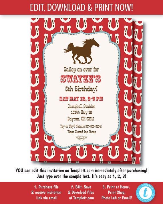Horse Western Birthday Invitation Party