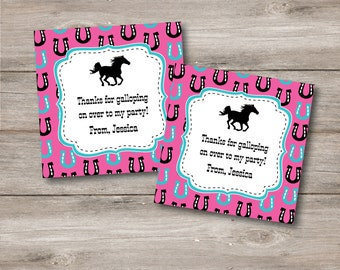 Horse Favor Tags with Editable Text, Horse Birthday Favor Tags with Changeable Text, Printable Horse Party Tags, DIY Horse Themed Party Tags