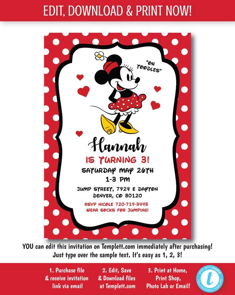 Minnie Mouse Invitation Invite