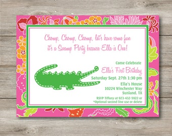 Alligator Invitation with Changeable Text, Printable Editable Alligator Invitation, Alligator Invite, Swamp Party Invitation, Swamp Party