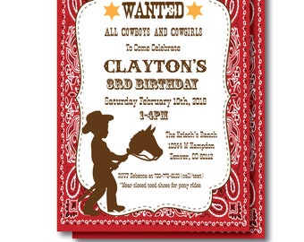 Cowboy Birthday Invitation with Editable Text, Printable Cowboy Invitation, Cowboy Party Invitation, Cowboy Instant Download, Templett