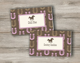 Horse Food Tent Cards with Changeable Text, Customizable Horse Food Labels, Personalized Printable Horse birthday, Printable Horse Party