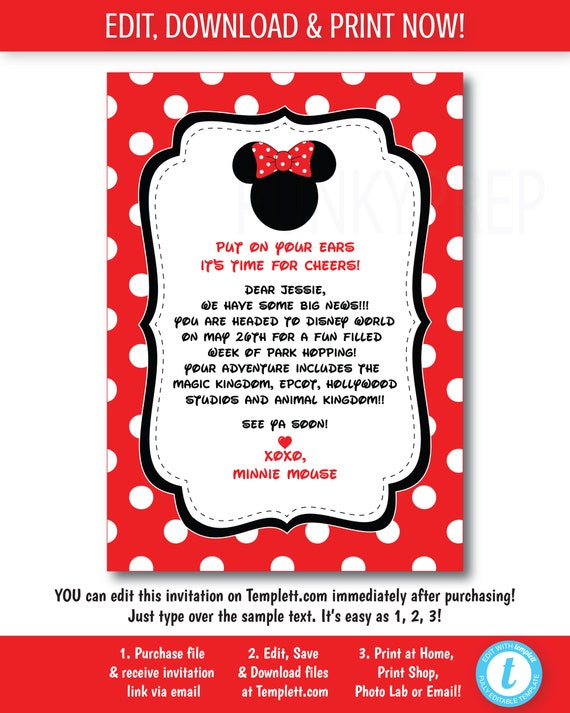 You Re Going To Disney Trip Announcement Letter Disney Etsy