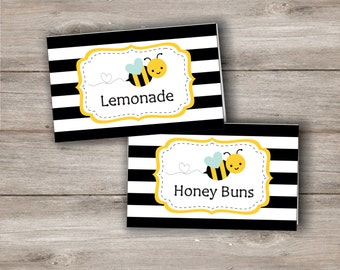 Bumble Bee Food Tent Cards with Editable Text, Printable Bumblebee Food Tags, DIY Editable Bumblebee Food Labels to Print at Home, Bee Party