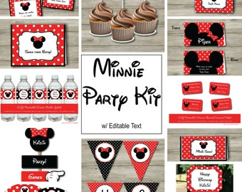 Minnie Mouse Party Kit, Minnie Mouse Birthday Party Set, Minnie Mouse Birthday Printables, Instant Download, Print at Home
