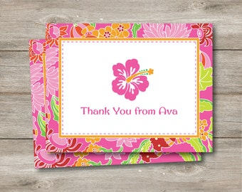 Editable Personalized Luau Note Card, Instant Download Editable Note, Hawaiian Luau Personalized Note, Flat Note Luau Thanks, Instant PDF