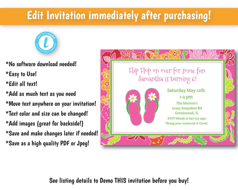 46d392277bc2 Preppy Flip Flop Pool Party Invitation Pool Party Invitation