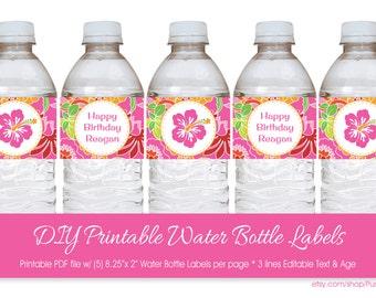 Hawaiian Luau Water Bottle Labels with Editable Text, DIY Luau Water Labels, Printable Luau Party Labels, DIY Hawaiian Luau to Print at Home