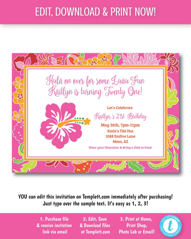 Luau Invitation Hawaiian Party Hibiscus Pool Tropical Sample It Now Templett