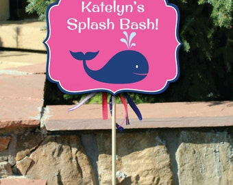 Editable Whale Small Yard with Changeable Text, Custom Whale Birthday, Pool Party Sign, Personalized Pool Party Sign, Instant Editable PDF