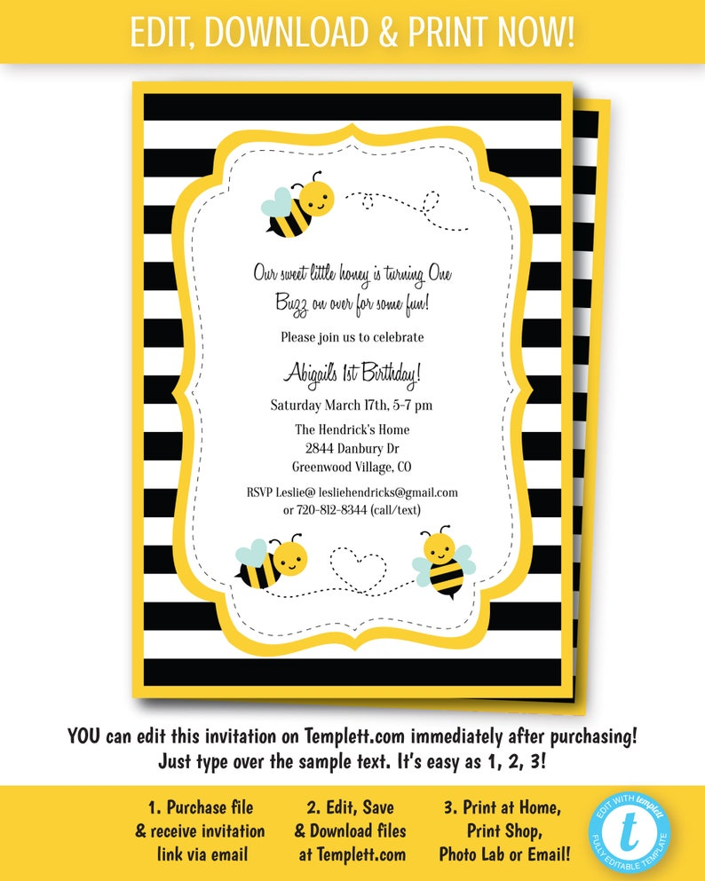 Bumble Bee Invitation Birthday Party Digital Invite Print At Home Edit Now Templett