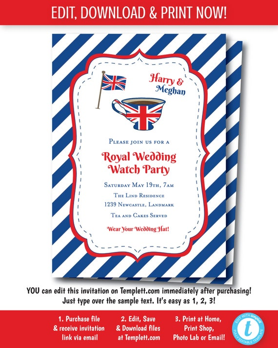 Royal Tea Party Invitation British Birthday
