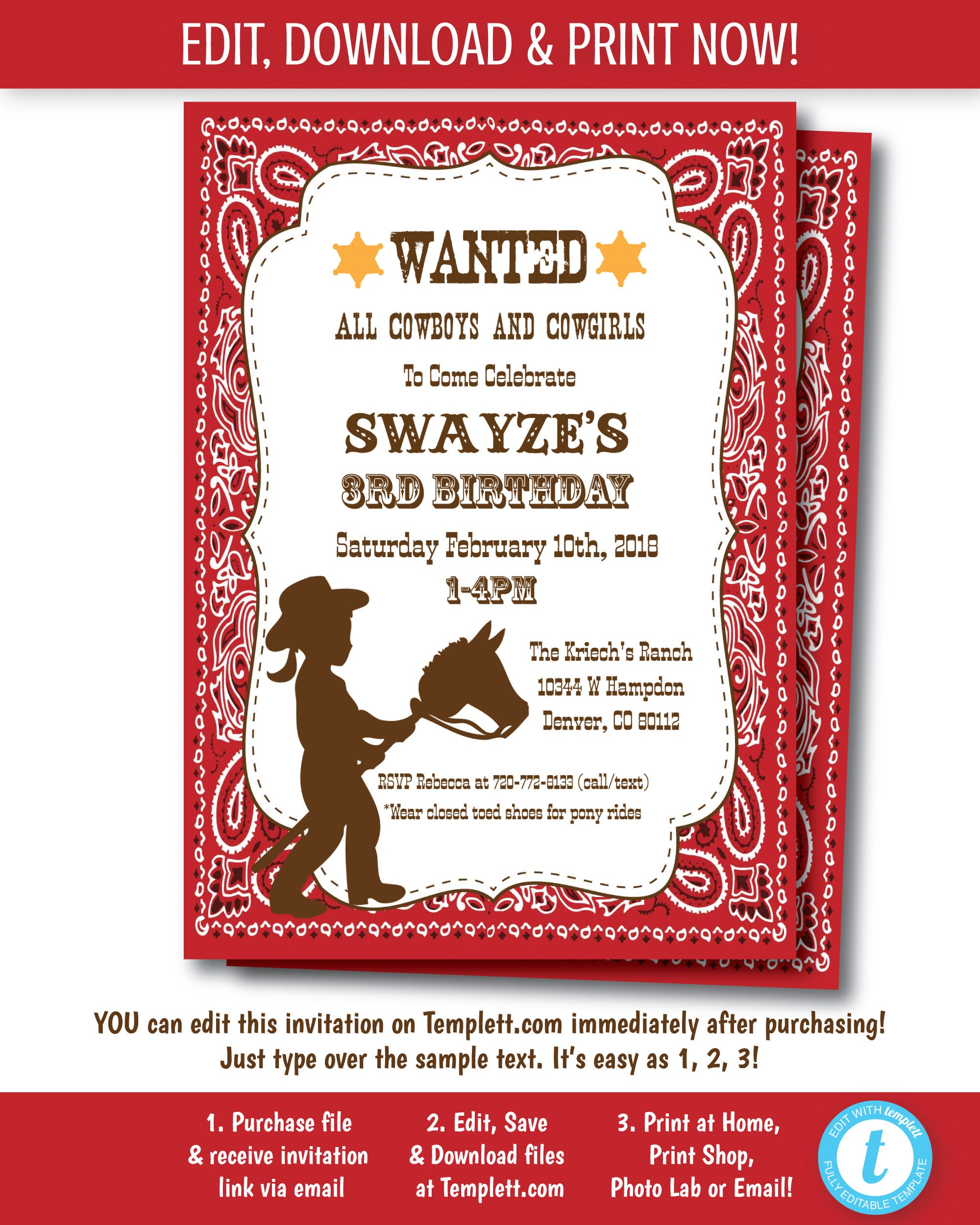 Nice Cowgirl Party Invitations Gallery - Invitations and ...