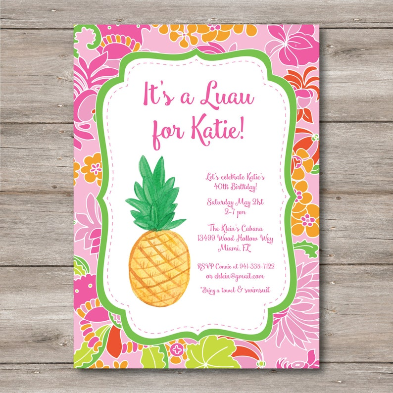 Luau Invitation With Editable Text To Print At Home DIY