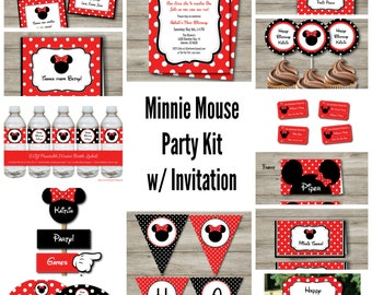 Minnie Mouse Party Kit, Minnie Mouse Birthday Party Set, Printable Minnie Mouse Birthday Party, Instant Download, Print at Home