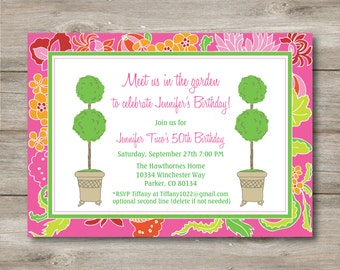 Topiary Invitation with Changeable Text, Printable Party Invitation, Garden Party Invite, Garden Party Invitation, Topiary invitation