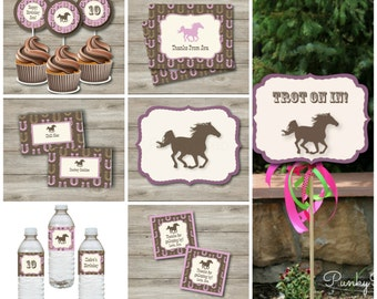 Horse Party Kit with Editable Text, Printable Horse Party Kit, DIY Pink Horse Birthday Party Kit, Girl's Western Horse Party Kit Editable