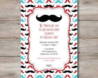 Mustache Invitation with Editable Text, Mustache Party Invitation with Changeable Text, Mustache Birthday Invitation, Mustache Party Invite