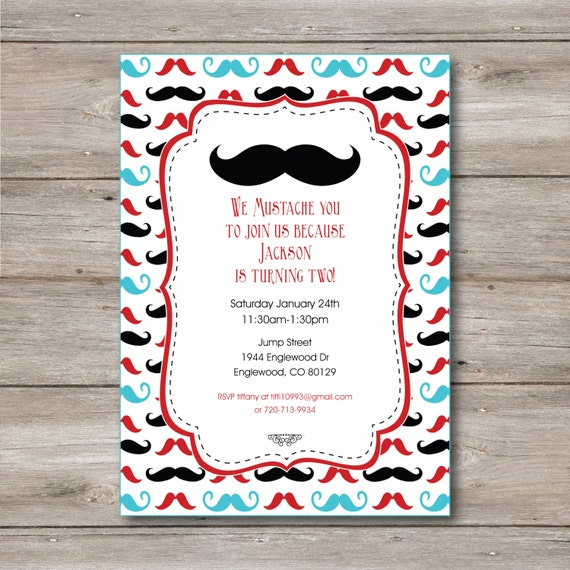 Mustache Invitation With Editable Text Mustache Party Etsy