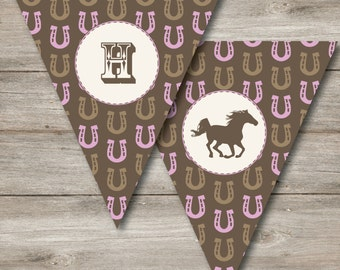 Horse Party Banner Changeable Text, Horse Birthday Banner, Pennant Western Birthday, Horse Pennant, Instant Printable and Editable PDF's