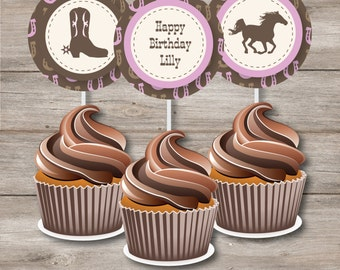 Horse Circles with Changeable Text, Printable Horse Birthday Party Circles, Horse Cupcake Toppers with Editable Text, DIY Horse Party Circle