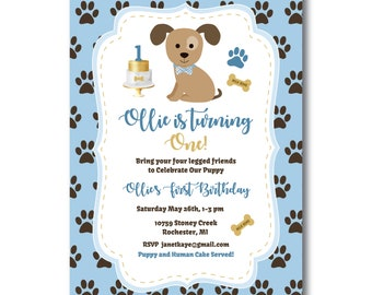 Puppy's First Birthday Party Invitation, Free Favor Tag Included, Dog Birthday Party Invitation, Puppy Party Invite, Edit Now, Templett