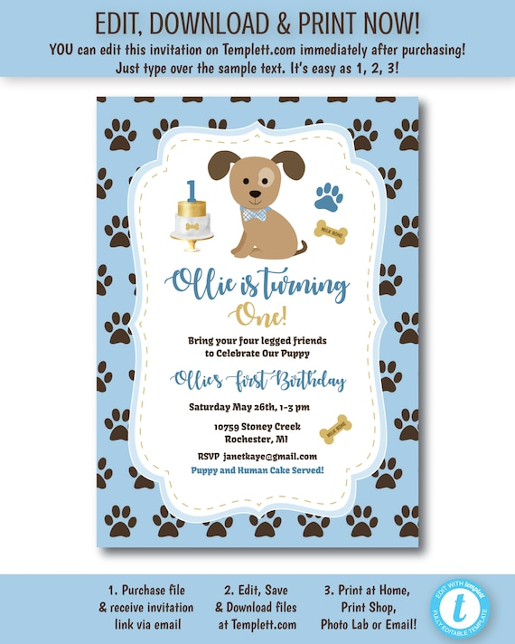 Puppys First Birthday Party Invitation Free Favor Tag