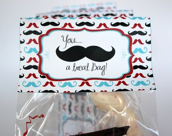 Mustache Bag Topper With Editable Text, Personalized Mustache Bag Topper, DIY Mustache Favor Bag Topper, Mustache Party, Mustache Treat Bag