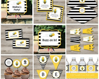 Bumble Bee Party Kit to Print at Home with Invitation, Bumblebee Birthday Party Package to Print, Printable Bumblebee Party Kit and invite