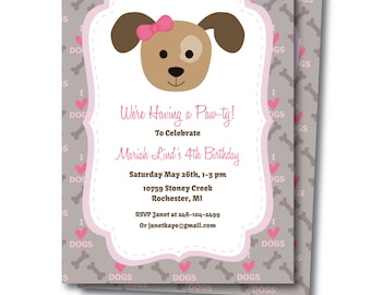 Puppy Party Invitation, Includes Free Adoption Certificate, Printable Puppy Party Invite, Dog Party Invite Print at Home, Edit Now, Templett